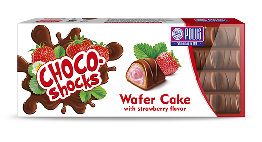 "Wafer cake ""Choco-Shocks"" with strawberry flavor"
